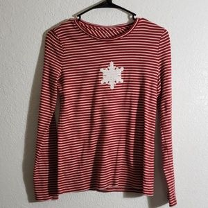 Peppermint striped +a snowflake long sleeve shirt